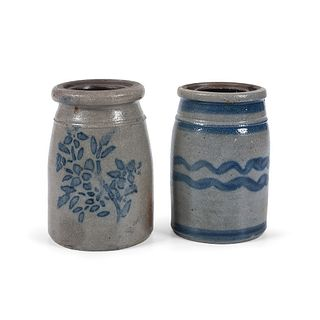 Two Diminutive Pennsylvania Cobalt-Decorated Stoneware Canning Jars