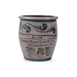 A Fine Pennsylvania Two Gallon Stoneware Cream Pot