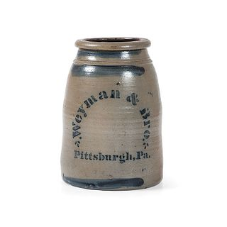 A Scarce Weyman and Brothers Stoneware Tobacco Jar with Double-Sided Decoration