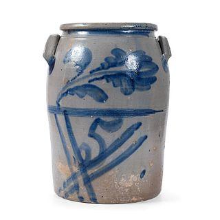 A Five Gallon Cobalt-Decorated Pennsylvania Stoneware Crock