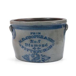 A Rare Two Gallon Pittsburgh Stoneware Crock