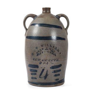 A Pennsylvania Four Gallon Two Handled Stoneware Jug