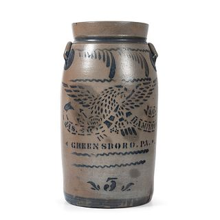 A Fine Five Gallon Stoneware Churn with Cobalt Stenciled Eagle