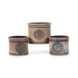 Three Heinz Stoneware Advertising Crocks