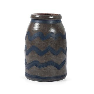 A One Gallon Pennsylvania Cobalt Striped Stoneware Canning Jar