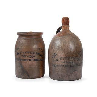 A Scarce Pennsylvania Cobalt-Decorated Stoneware Jug and Crock