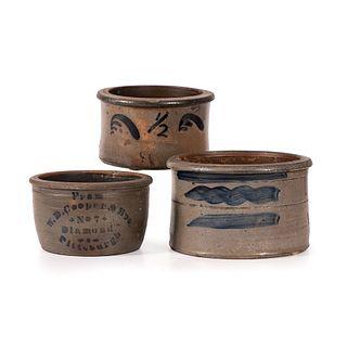 Three Small Pennsylvania Stoneware Butter Tubs