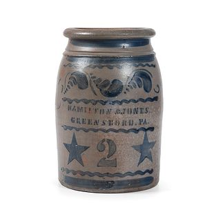 A Pennsylvania Two Gallon Stoneware Jar with Cobalt Stars