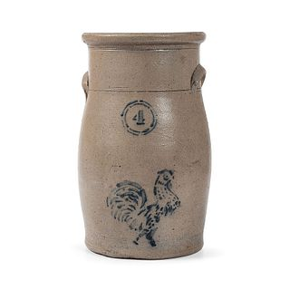 A Four Gallon Stoneware Churn with Cobalt Stenciled Rooster