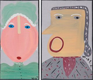 MOSE ERNEST TOLLIVER, (American, 1924-2006), Two Portraits, Martha and George Washington