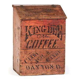 A King Bee Coffee Stenciled Display Bin
