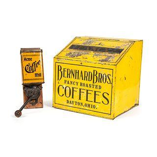 A Bernhard Bros. Coffee Store Bin and Acme Coffee Grinder