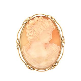 Shell Cameo and 18K Pendant/Brooch