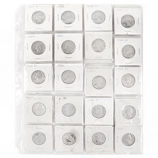 Thirty Nine (39) U. S. Washington Silver Quarters