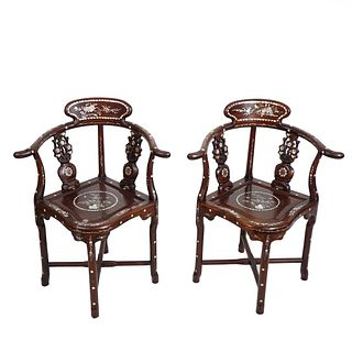 Pair of Chinese Hardwood/MOP Chairs