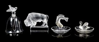 Four Lalique Molded and Frosted Glass Articles