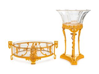 Two French Gilt Bronze Mounted Glass Center Bowls