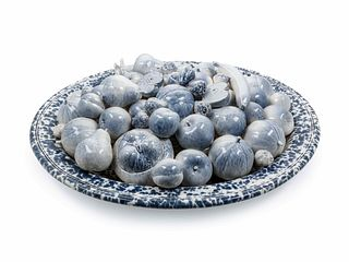 A Large Blue and White Glazed Ceramic Centerpiece