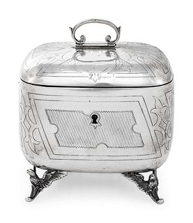 An Austrian Silver Tea Caddy