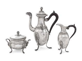 A Continental Silver Three-Piece Tea Service