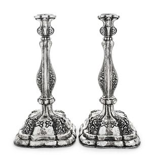 A Pair of Austrian Silver Candlesticks