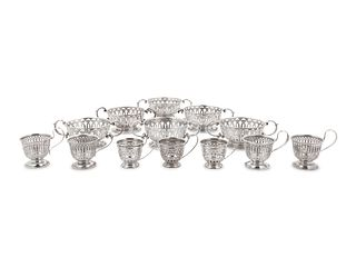 Thirteen American Silver Demitasse Cup and Dessert Bowl Liners