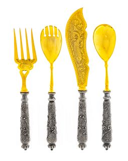 A German Silver and Gilt Metal Four-Piece Serving Set
