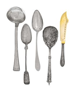 A Large Collection of Continental Silver Flatware Articles