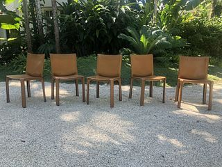 Cassina Cab - Natural Leather - Set of 5 Chairs