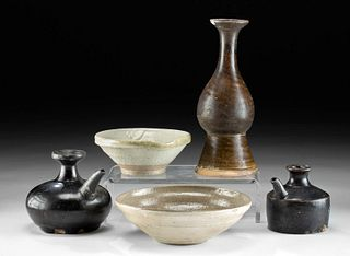 5 Korean Koryo & Joseon Dynasty Glazed Pottery Vessels