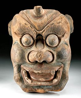 19th C. Chinese Painted Wood Mask - Fierce Protector