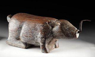 Late 19th C. Thai Wood Coconut Grater - Pig