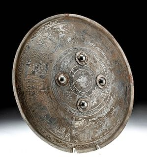 Antique Indian Copper Dahl Shield, Royal Hunting Scenes