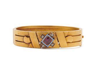 14K Gold, Ruby, Enamel, and Diamond Bracelet