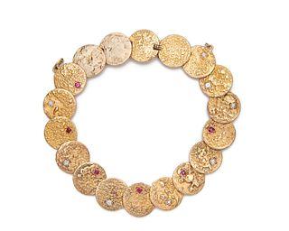 18K Gold, Diamond, and Ruby Bracelet