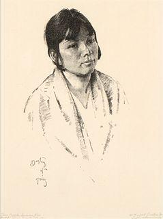 W. Herbert Dunton, Taos Pueblo Indian Girl (Corn Weeds), 1931