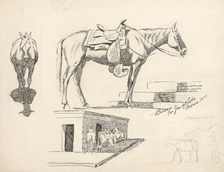 Edward Borein, Two-Sided Drawing, 1897