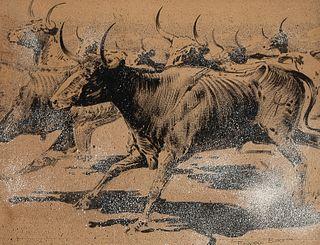Edward Borein, Stampeding Longhorns #2, 1914