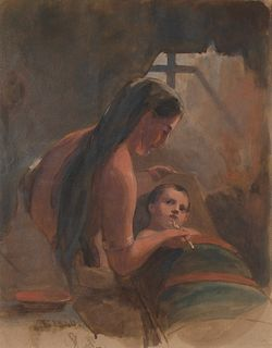Thomas Sully, Indian Squaw Feeding Her Papoose, 1840