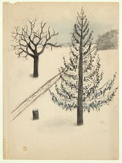 Georgia O'Keeffe, Trees in Snow, 1902