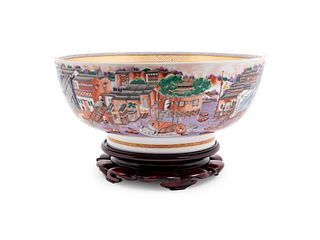 A Mottahedeh Chinese Export Decorated Porcelain Punch Bowl