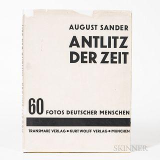 Sander, August (1876-1964) Antlitz der Zeit, 60 Fotos Deutscher Menschen [Face of Our Time]. Munchen: Transmare Verlag, Kurt Wolff Verl