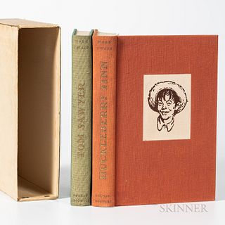Twain, Mark (1835-1910) and Norman Rockwell (1894-1978) Illustrator Tom Sawyer and The Adventures of Huckleberry Finn, Signed. New York