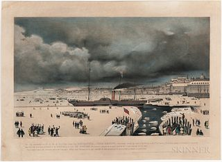 This Print, representing the B & N. A Royal Mail Steam Ship Britannia, John Hewitt, Commander, Leaving her Dock at East Boston on the 3
