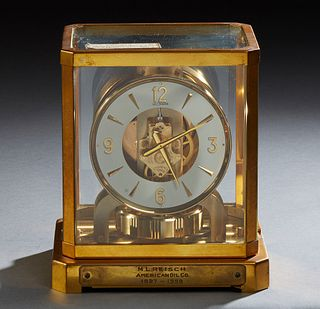 "Jaeger LeCoultre Atmos Clock, c. 1960, serial # 108409, the front with a presentation plaque for ""M. L. Reisch, American Oil Company, 1927-1959,"" H.-"