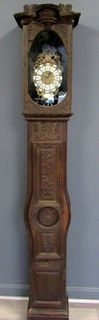 Antique and Finely Carved French Tall Case Clock.
