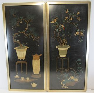2 Finest Quality Framed Chinese Silk Tapestries.