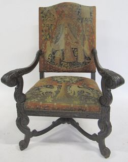 Antique Carved Throne Chair With Needlepoint