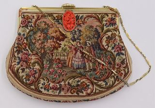 GOLD. 14kt Gold and Coral Petit Point Purse.