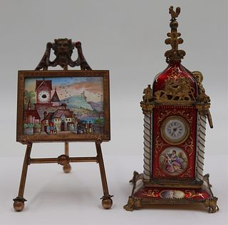 (2) Miniature Austrian? Enamel Decorated Clocks.
